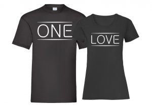 One Love Black T-shirt Men Women